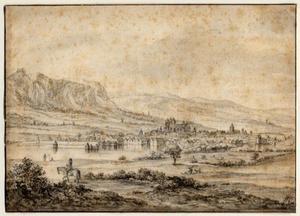 Gezicht op Genève, links Mont Salève en op de voorgrond een ruiter