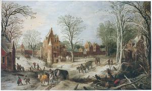 Winterlandschap met gezicht in een dorp