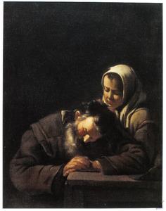 Slapende oude man met jonge vrouw
