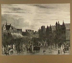 Het afdanken der waardgelders door prins Maurits op de Neude te Utrecht, 31 juli 1618; op de voorgrond prins Maurits met de afgevaardigden van de Staten-Generaal