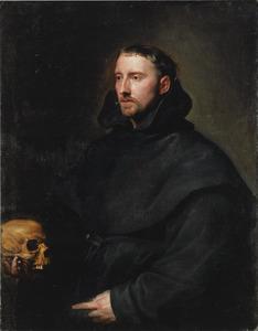 Portret van een Benedictijner monniik met een schedel in de hand