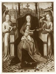 Tronende Maria met kind tussen twee musicerende engelen