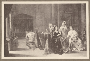 Drie elegante jonge vrouwen met dienstmeid in een interieur