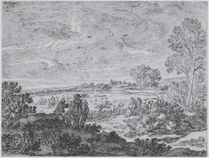 Duinlandschap met figuren, op de achtergrond vogelaars bij hun netten