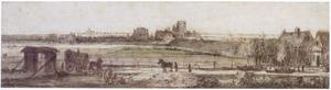 Panoramalandschap met hooiwagen, bebouwing, dijk en rivier