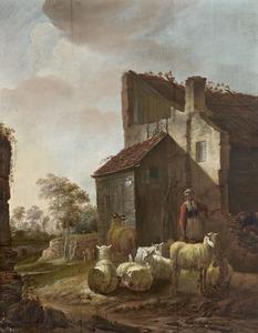 Boerin met schapen voor de ruïne van het poortgebouw van kasteel Brederode vanuit het zuidoosten, in een gefantaseerde omgeving
