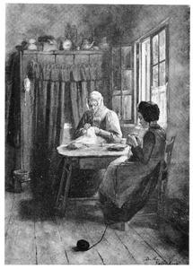 Interieur met vrouw en meisje
