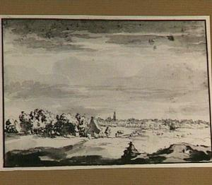 Den Haag, gezien vanuit het zogenaamde Annaland in de duinen bij Scheveningen