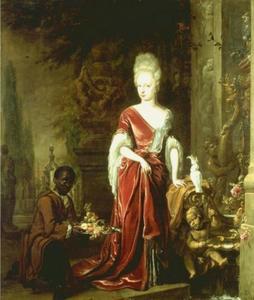 Portret van Elisabeth Charlotte van de Palts, hertogin van Orléans (1652-1722), met een bediende