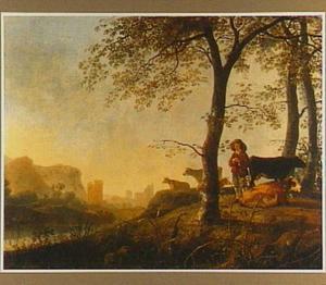 Rivierlandschap bij zonsondergang