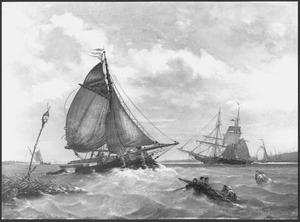 Een tjalk geladen met houten balken voor de rede van Dordrecht