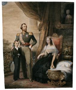 Portret van koning Willem III (1817-1890), koningin Sophie (1818-1877) en hun twee zonen