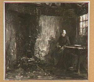 Interieur met boerenvrouw