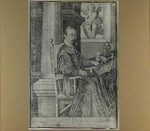 Portret van een geestelijke in een interieur