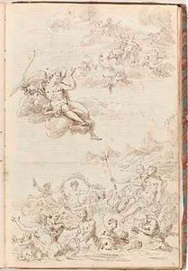 Cupido spreekt Nereus' dochters en de goden van de zee aan over Psyche