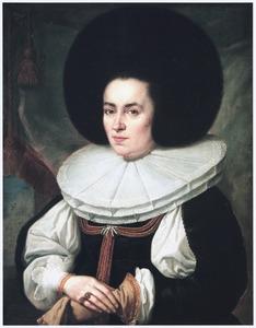 Portret van een vrouw met grote kanten plooikraag en bonthoed