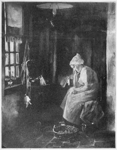 Zittende vrouw in interieur