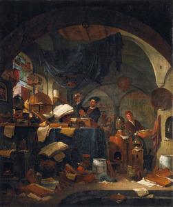 Een alchemist in zijn studeervertrek