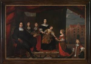 Familieportret van Reyer van der Burch (1630-1695), Geertruid Graswinckel (1627-1708) en hun kinderen Frank (1658-1715, Cornelis (1660-1690), Reyer (1661-1695), Maria (1667-1723) en Alida (1670-1727)