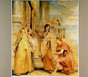 Keizer Constantijn en zijn moeder Helena aanbidden het Ware Kruis