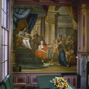 Het oordeel van Salomo: de twee moeders komen voor Salomo en ruziën met elkaar  (1 Koningen 3:16-22)