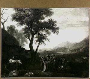 Heuvellandschap met0ud-testamentaire scène