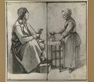 Lezende zittende man en strijkende vrouw