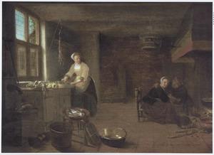 Keukeninterieur met een dienstmeid en een paar bij de haard