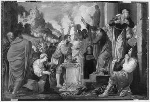 Paulus en Barnabas verhinderen een heidens offer te Lystra (Handelingen 14:14)