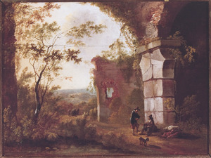 Zuidelijk landschap met rustende reizigers bij een ruïne