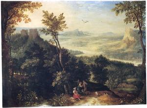 Berglandschap met figuren op een pad