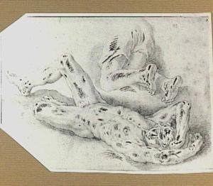 Studie van een liggende naakte man en benen van een knielende man