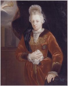 Portret van een vrouw met een kap à la Fontanges