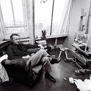 Portret van Melle in zijn atelier