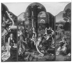 De annunciatie (links); De aanbidding van de Wijzen (midden); De rust op de vlucht naar Egypte (rechts)