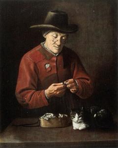 Oude vrouw turend naar een munt