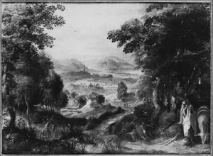 Landschap met de dood van de ongehoorzame profeet (1 Koningen 23:28)