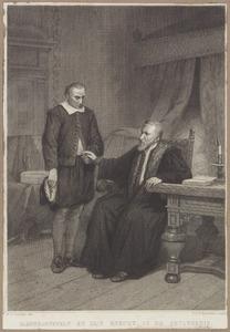 Johan van Oldenbarnevelt (1547-1619) en zijn knecht Jan Francken (....-1664) in gevangenschap