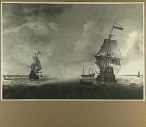 Hollandse driemasters voor de kust