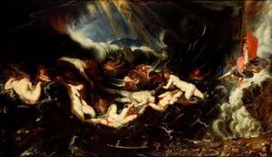 Hero stort zich in de Hellespont, wanneer de Nereïden de dode Leander aan land brengen