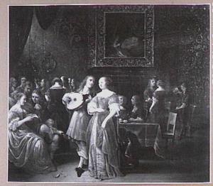 Elegant converserend en musicerend gezelschap in een interieur