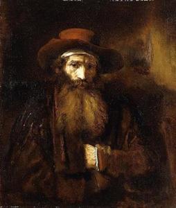 Halffiguur van een man met baard en hoofddoek onder zijn hoed