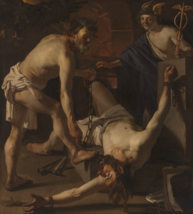 Prometheus wordt door Vulcanus geketend
