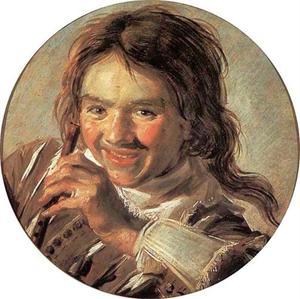 Lachende jongen met een fluit