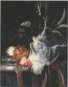 Stilleven met twee dode hanen