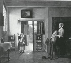 Vrouw en kind in slaapkamer