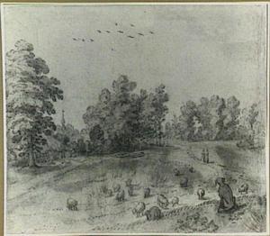 Heuvellendschap met schapen en een herdershond