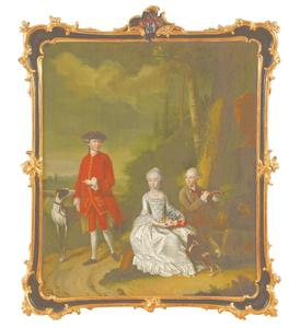 Portret van Daniël Willemsz. Hooft (1747-1810), zijn zuster Clara Hillegonda Hooft (1749-1800) en zijn broer Isaak Hooft (1751-1823)