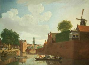 Gezicht op de Weerdpoort, de Zandbrug en het bastion Morgenster te Utrecht; de Domtoren in het verschiet
