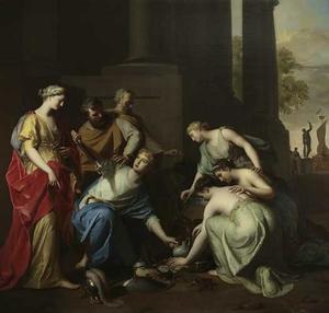 Achilles te midden van de dochters van Lycomedes door Odysseus herkend